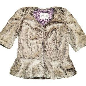 nwt RACHEL ROY faux fur full zip peplum jacket new